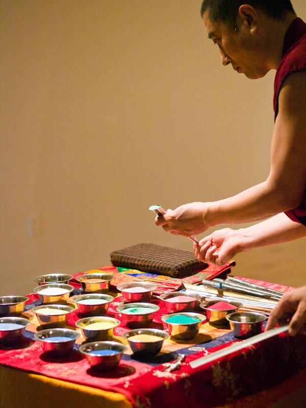 arts tib tain mandala la peinture avec du sable